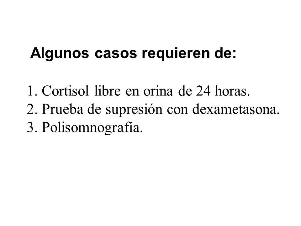 Algunos casos requieren de: 1.Cortisol libre en orina de 24 horas. 2.Prueba de supresión con dexametasona. 3.Polisomnografía.