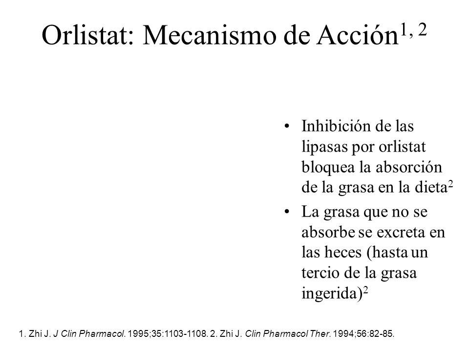 Orlistat: Mecanismo de Acción 1, 2 1. Zhi J. J Clin Pharmacol. 1995;35:1103-1108. 2. Zhi J. Clin Pharmacol Ther. 1994;56:82-85. Inhibición de las lipa