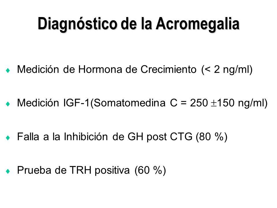 Diagnóstico de la Acromegalia Medición de Hormona de Crecimiento (< 2 ng/ml) Medición IGF-1(Somatomedina C = 250 150 ng/ml) Falla a la Inhibición de G
