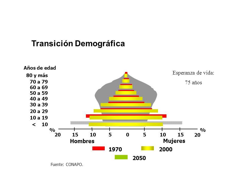 Transición Demográfica Años de edad 30 a 39 40 a 49 50 a 59 60 a 69 70 a 79 80 y más 20 a 29 < 10 10 a 19 1970 Mujeres Hombres % 010 20 10205515 2000