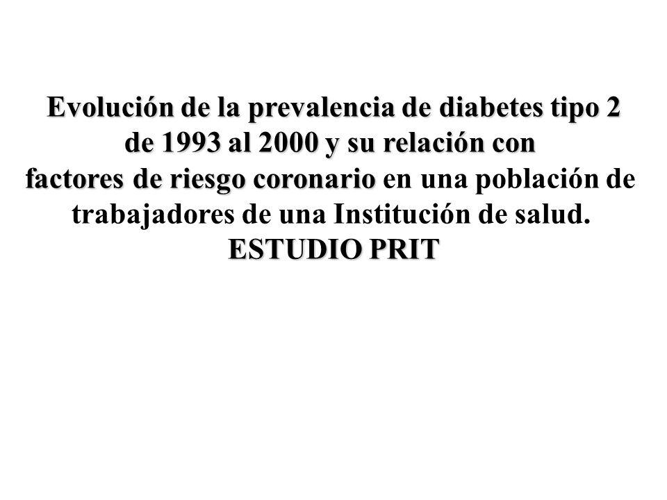Evolución de la prevalencia de diabetes tipo 2 de 1993 al 2000 y su relación con factores de riesgo coronario factores de riesgo coronario en una pobl