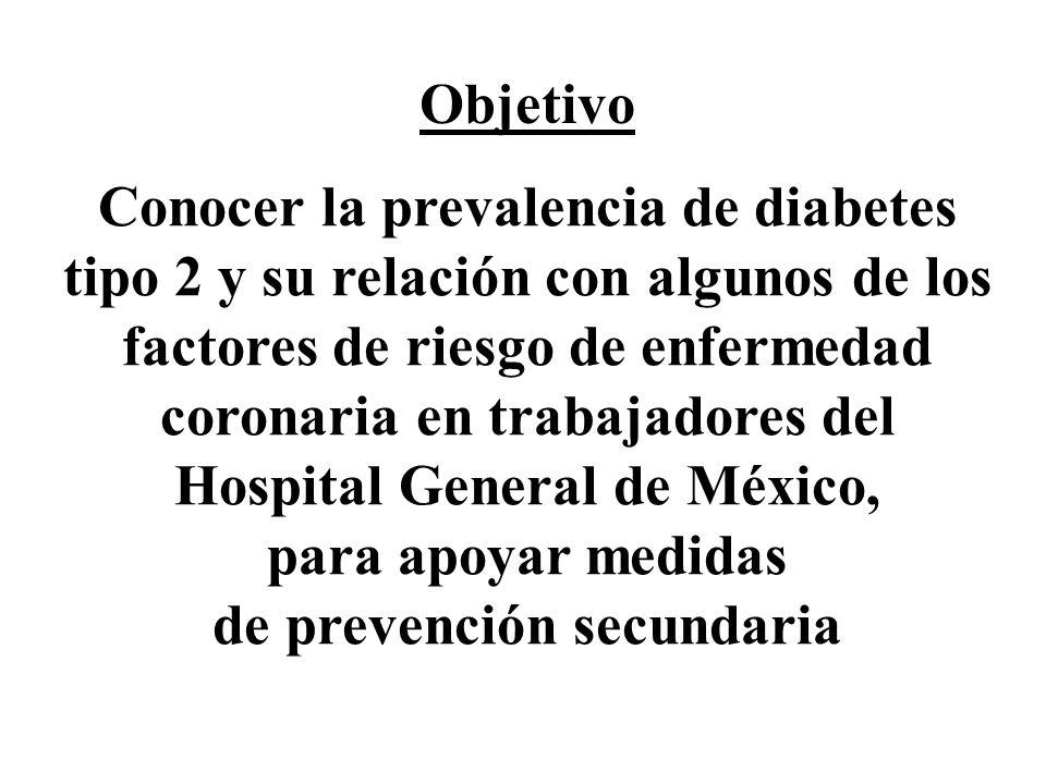 Conocer la prevalencia de diabetes tipo 2 y su relación con algunos de los factores de riesgo de enfermedad coronaria en trabajadores del Hospital Gen
