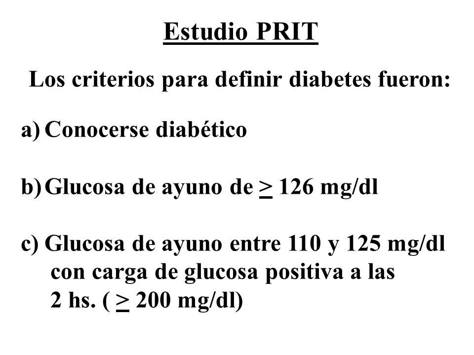 a)Conocerse diabético b)Glucosa de ayuno de > 126 mg/dl c)Glucosa de ayuno entre 110 y 125 mg/dl con carga de glucosa positiva a las 2 hs. ( > 200 mg/