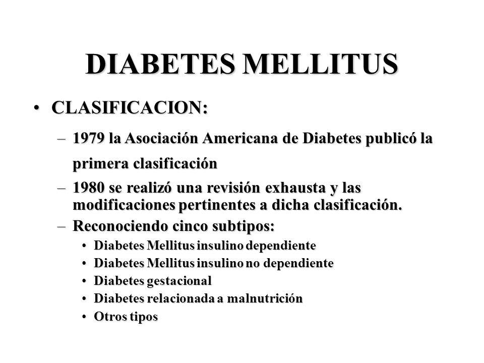 DIABETES MELLITUS CLASIFICACION:CLASIFICACION: –1979 la Asociación Americana de Diabetes publicó la primera clasificación –1980 se realizó una revisió