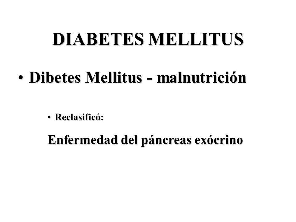 DIABETES MELLITUS Dibetes Mellitus - malnutriciónDibetes Mellitus - malnutrición Reclasificó:Reclasificó: Enfermedad del páncreas exócrino