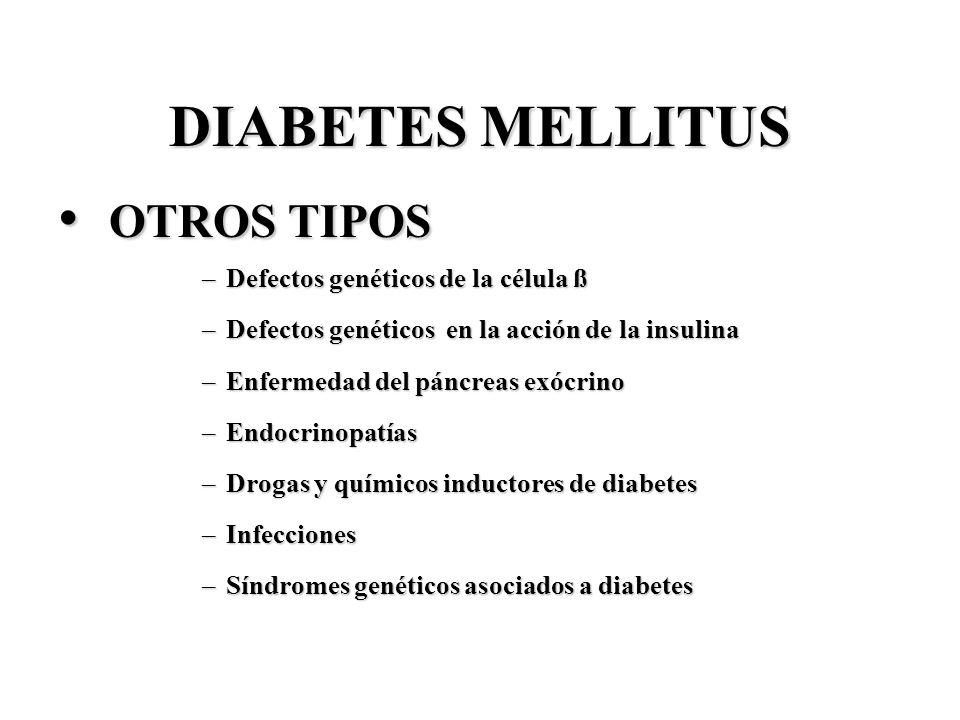 DIABETES MELLITUS OTROS TIPOS OTROS TIPOS –Defectos genéticos de la célula ß –Defectos genéticos en la acción de la insulina –Enfermedad del páncreas