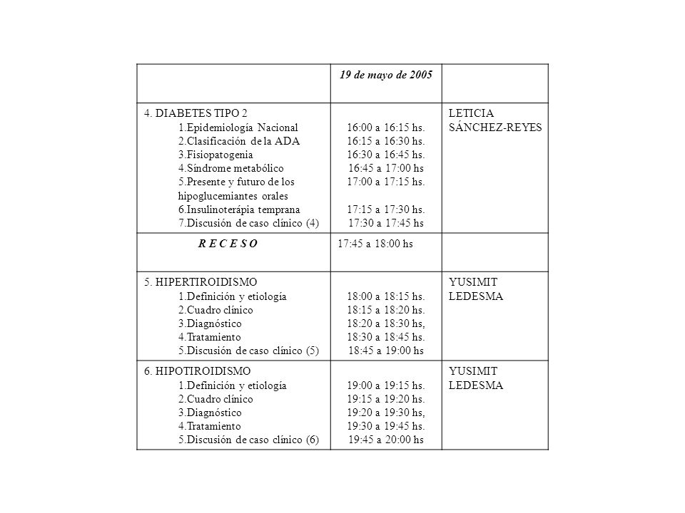 19 de mayo de 2005 4. DIABETES TIPO 2 1.Epidemiología Nacional 2.Clasificación de la ADA 3.Fisiopatogenia 4.Síndrome metabólico 5.Presente y futuro de