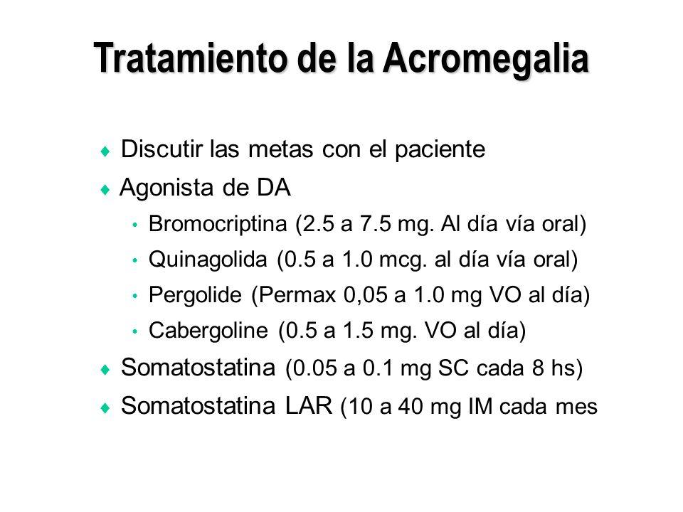Tratamiento de la Acromegalia Discutir las metas con el paciente Agonista de DA Bromocriptina (2.5 a 7.5 mg. Al día vía oral) Quinagolida (0.5 a 1.0 m