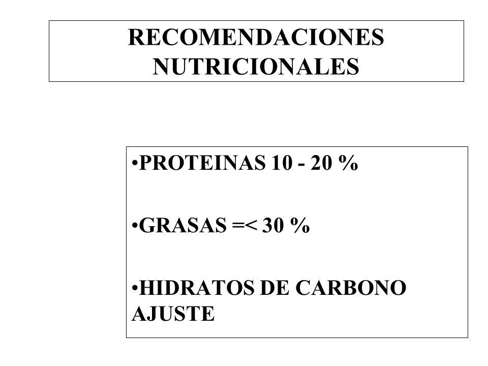 RECOMENDACIONES NUTRICIONALES PROTEINAS 10 - 20 % GRASAS =< 30 % HIDRATOS DE CARBONO AJUSTE
