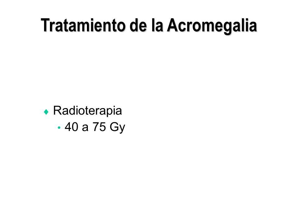 Tratamiento de la Acromegalia Radioterapia 40 a 75 Gy