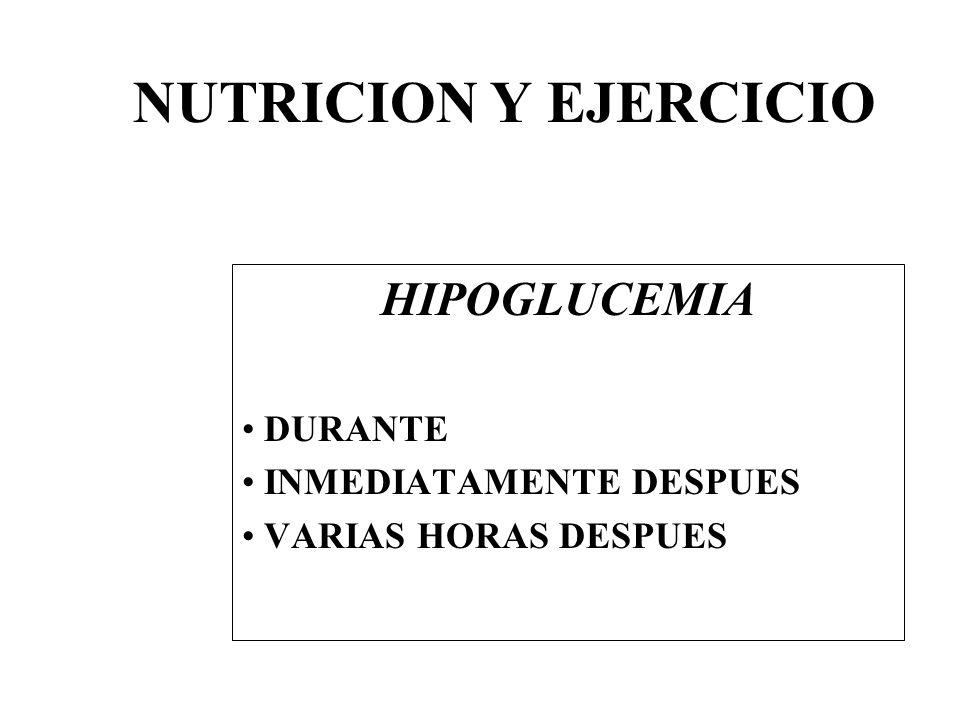 NUTRICION Y EJERCICIO HIPOGLUCEMIA DURANTE INMEDIATAMENTE DESPUES VARIAS HORAS DESPUES