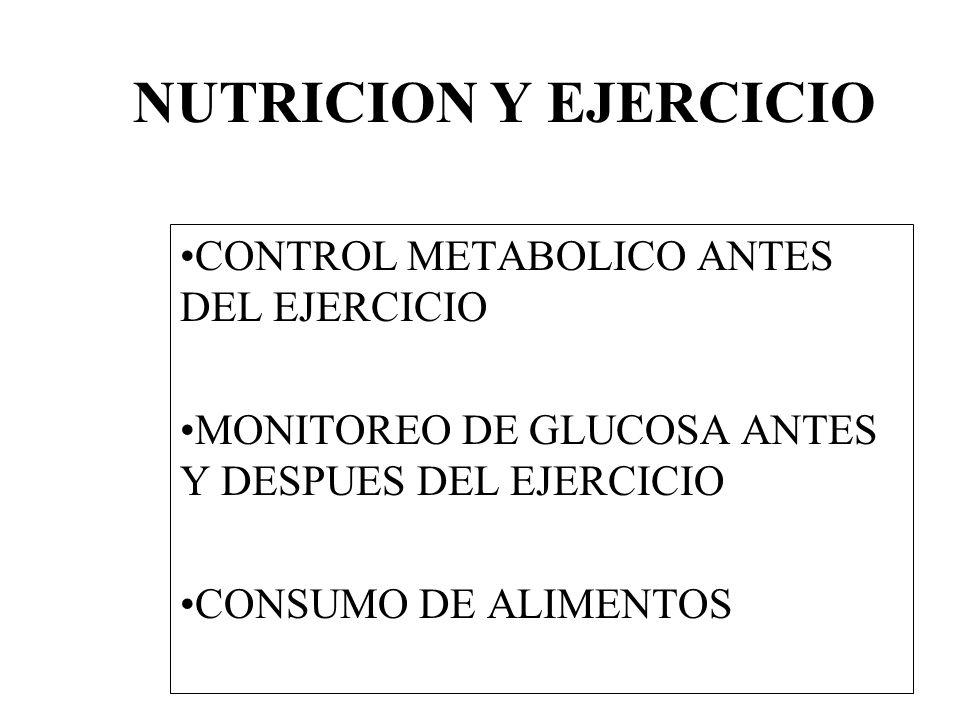 NUTRICION Y EJERCICIO CONTROL METABOLICO ANTES DEL EJERCICIO MONITOREO DE GLUCOSA ANTES Y DESPUES DEL EJERCICIO CONSUMO DE ALIMENTOS