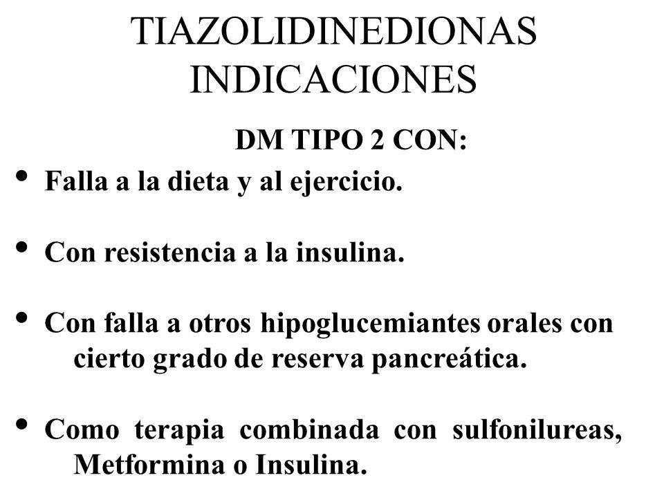 TIAZOLIDINEDIONAS INDICACIONES Falla a la dieta y al ejercicio. Con resistencia a la insulina. Con falla a otros hipoglucemiantes orales con cierto gr