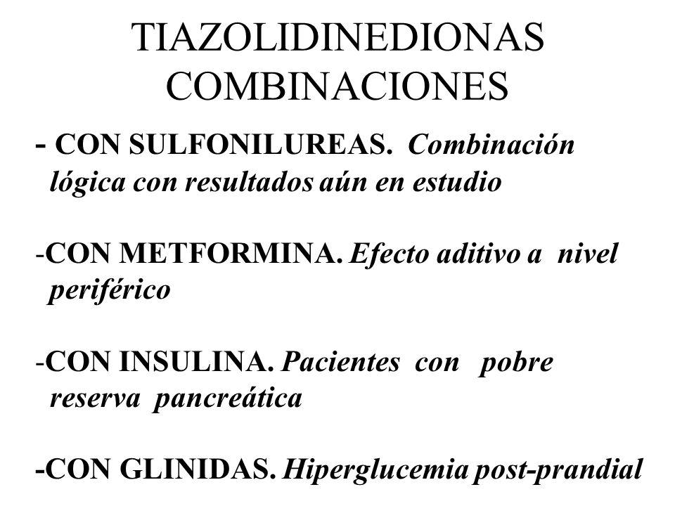 TIAZOLIDINEDIONAS COMBINACIONES - CON SULFONILUREAS. Combinación lógica con resultados aún en estudio -CON METFORMINA. Efecto aditivo a nivel periféri