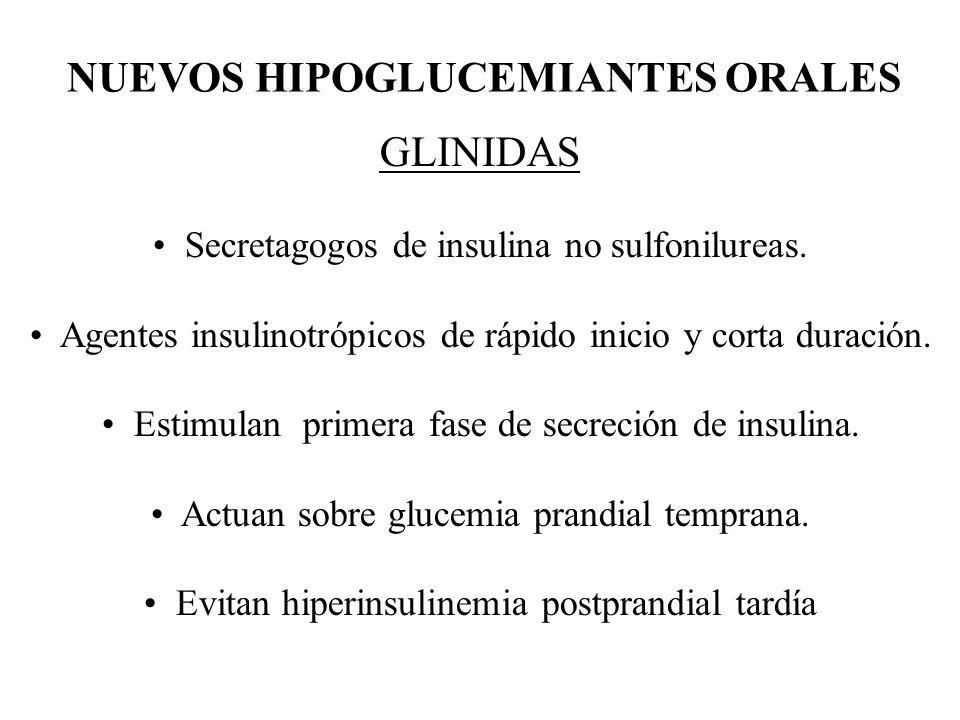 NUEVOS HIPOGLUCEMIANTES ORALES GLINIDAS Secretagogos de insulina no sulfonilureas. Agentes insulinotrópicos de rápido inicio y corta duración. Estimul