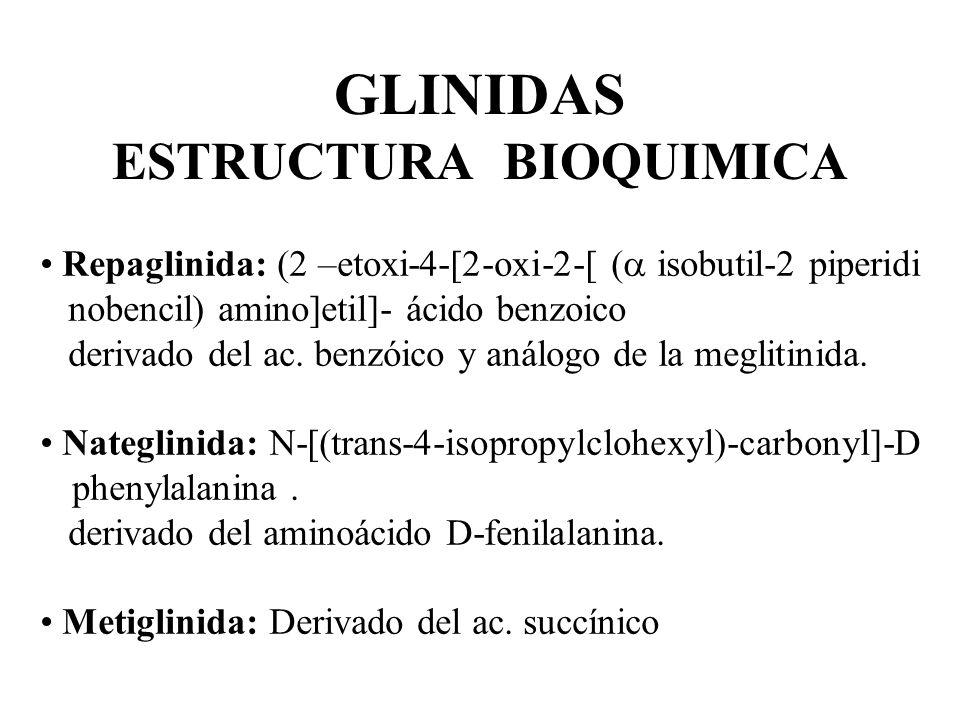 GLINIDAS ESTRUCTURA BIOQUIMICA Repaglinida: (2 –etoxi-4-[2-oxi-2-[ ( isobutil-2 piperidi nobencil) amino]etil]- ácido benzoico derivado del ac. benzói