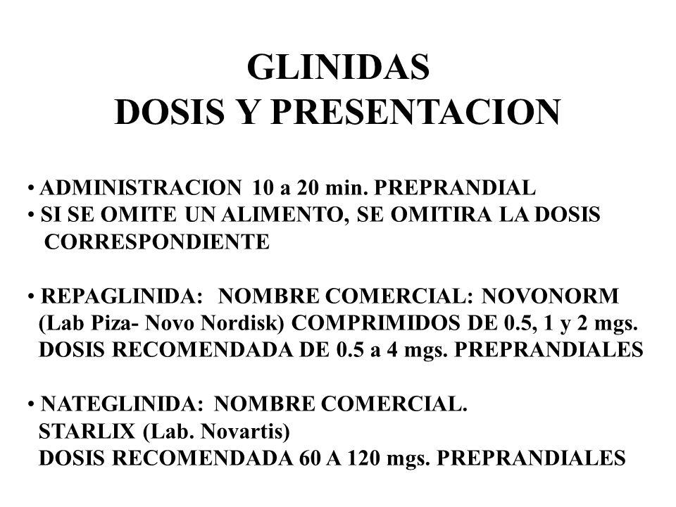 GLINIDAS DOSIS Y PRESENTACION ADMINISTRACION 10 a 20 min. PREPRANDIAL SI SE OMITE UN ALIMENTO, SE OMITIRA LA DOSIS CORRESPONDIENTE REPAGLINIDA: NOMBRE
