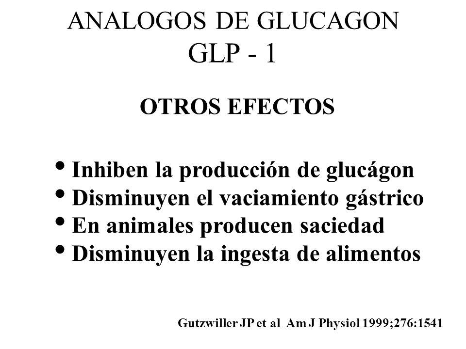 ANALOGOS DE GLUCAGON GLP - 1 OTROS EFECTOS Inhiben la producción de glucágon Disminuyen el vaciamiento gástrico En animales producen saciedad Disminuy