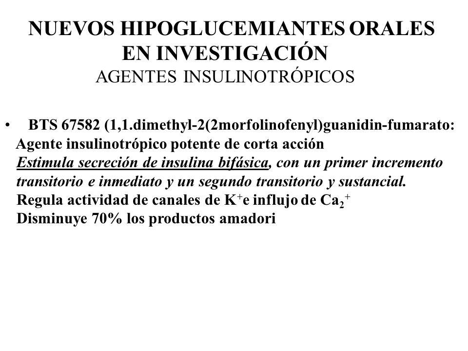 NUEVOS HIPOGLUCEMIANTES ORALES EN INVESTIGACIÓN AGENTES INSULINOTRÓPICOS BTS 67582 (1,1.dimethyl-2(2morfolinofenyl)guanidin-fumarato: Agente insulinot