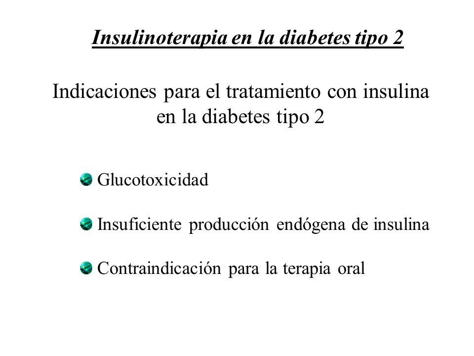 Indicaciones para el tratamiento con insulina en la diabetes tipo 2 Glucotoxicidad Insuficiente producción endógena de insulina Contraindicación para