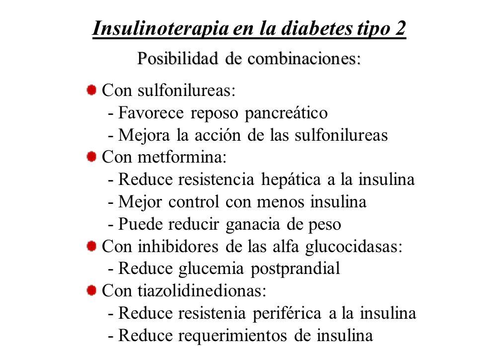 Posibilidad de combinaciones: Con sulfonilureas: - Favorece reposo pancreático - Mejora la acción de las sulfonilureas Con metformina: - Reduce resist