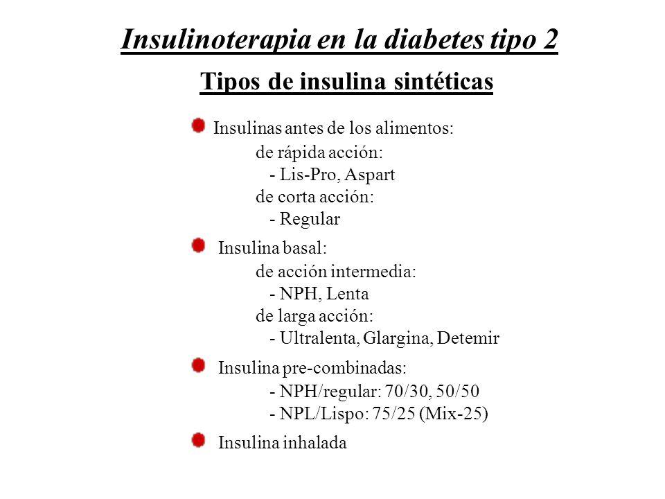 Tipos de insulina sintéticas Insulinas antes de los alimentos: de rápida acción: - Lis-Pro, Aspart de corta acción: - Regular Insulina basal: de acció