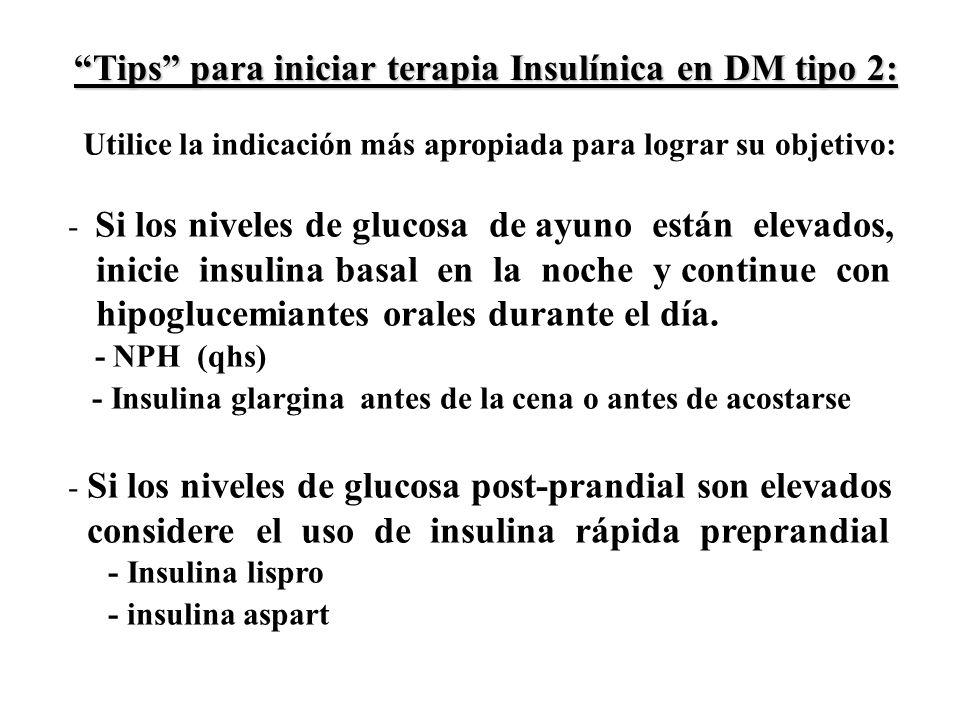 Utilice la indicación más apropiada para lograr su objetivo: - Si los niveles de glucosa de ayuno están elevados, inicie insulina basal en la noche y