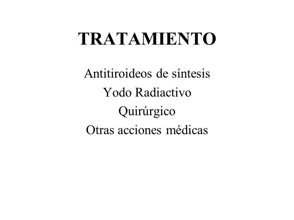 TRATAMIENTO Antitiroideos de síntesis Yodo Radiactivo Quirúrgico Otras acciones médicas
