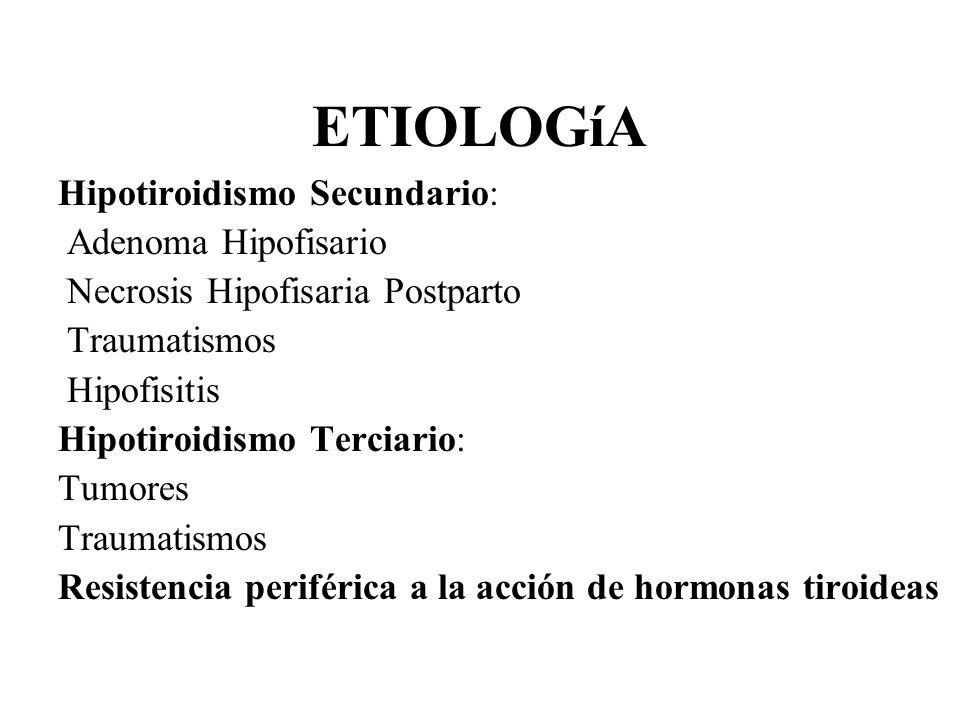 ETIOLOGíA Hipotiroidismo Secundario: Adenoma Hipofisario Necrosis Hipofisaria Postparto Traumatismos Hipofisitis Hipotiroidismo Terciario: Tumores Tra