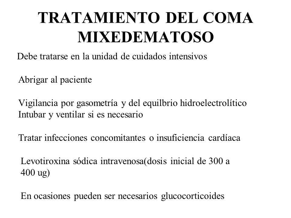 TRATAMIENTO DEL COMA MIXEDEMATOSO Debe tratarse en la unidad de cuidados intensivos Abrigar al paciente Vigilancia por gasometría y del equilbrio hidr