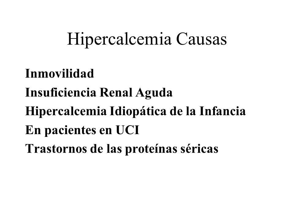 Hipercalcemia Causas Inmovilidad Insuficiencia Renal Aguda Hipercalcemia Idiopática de la Infancia En pacientes en UCI Trastornos de las proteínas sér