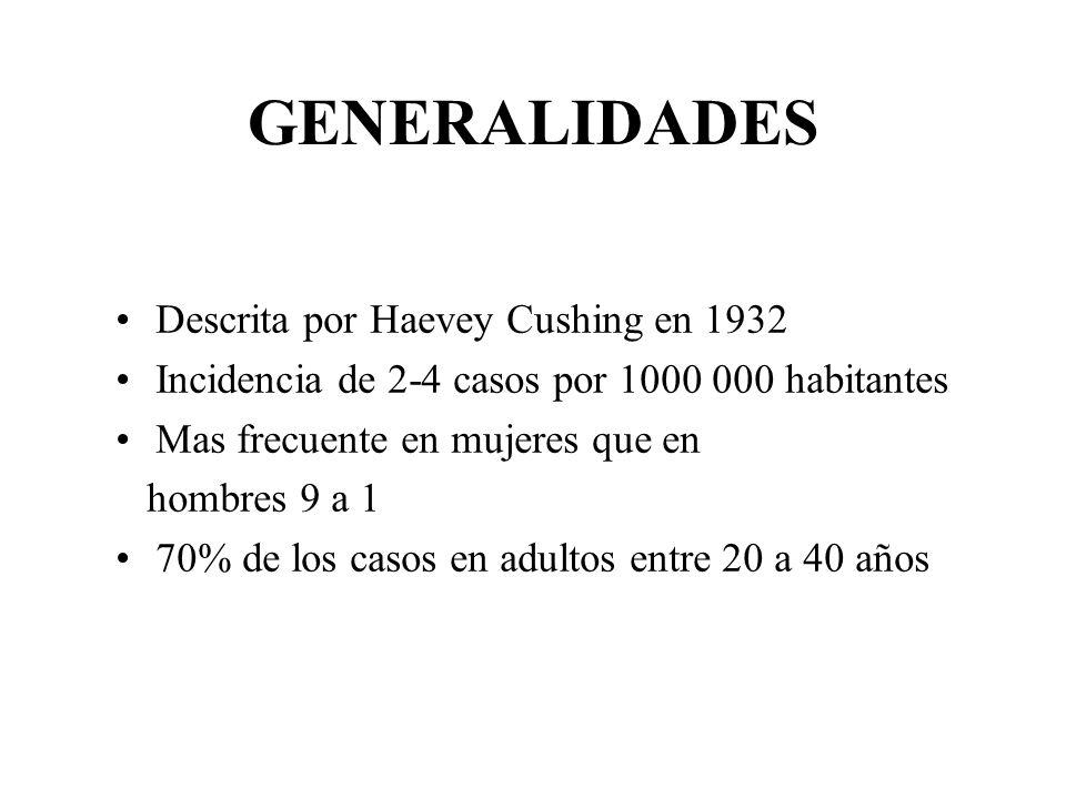 GENERALIDADES Descrita por Haevey Cushing en 1932 Incidencia de 2-4 casos por 1000 000 habitantes Mas frecuente en mujeres que en hombres 9 a 1 70% de