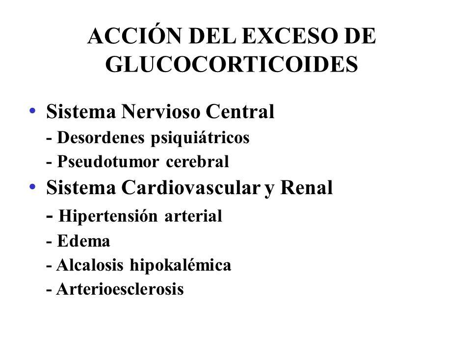 ACCIÓN DEL EXCESO DE GLUCOCORTICOIDES Sistema Nervioso Central - Desordenes psiquiátricos - Pseudotumor cerebral Sistema Cardiovascular y Renal - Hipe