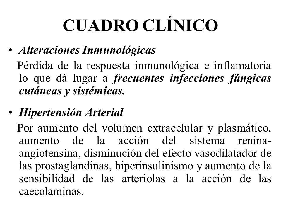 CUADRO CLÍNICO Alteraciones Inmunológicas Pérdida de la respuesta inmunológica e inflamatoria lo que dá lugar a frecuentes infecciones fúngicas cutáne