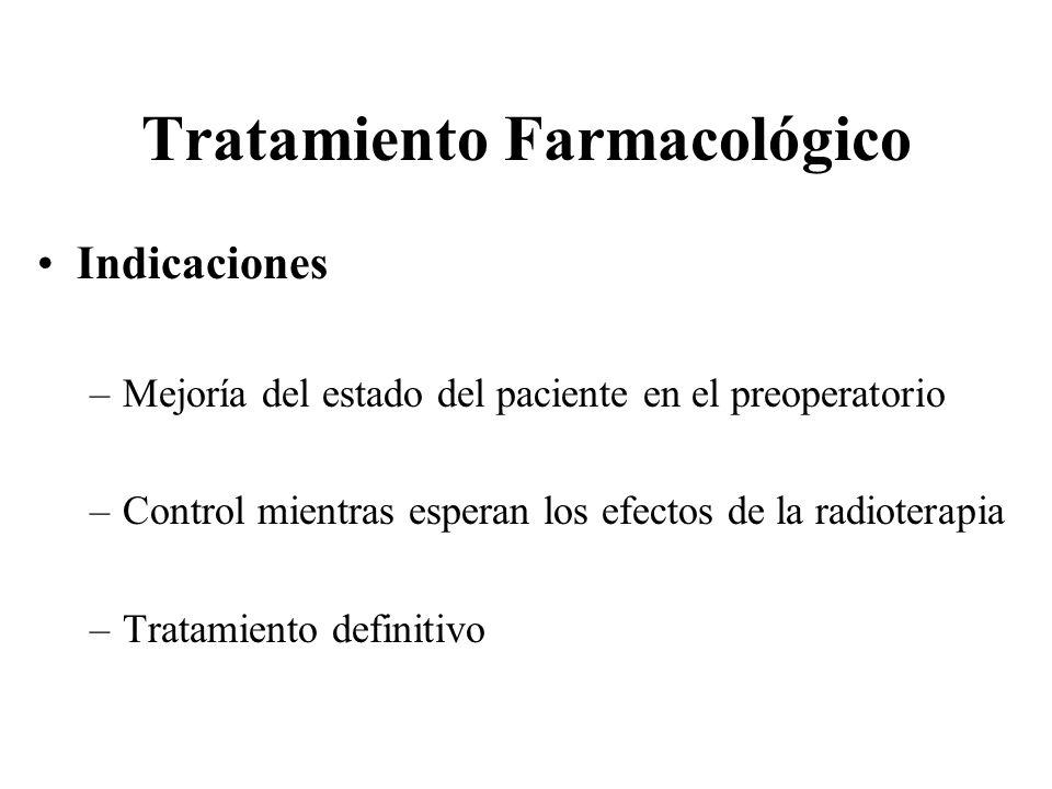 Tratamiento Farmacológico Indicaciones –Mejoría del estado del paciente en el preoperatorio –Control mientras esperan los efectos de la radioterapia –