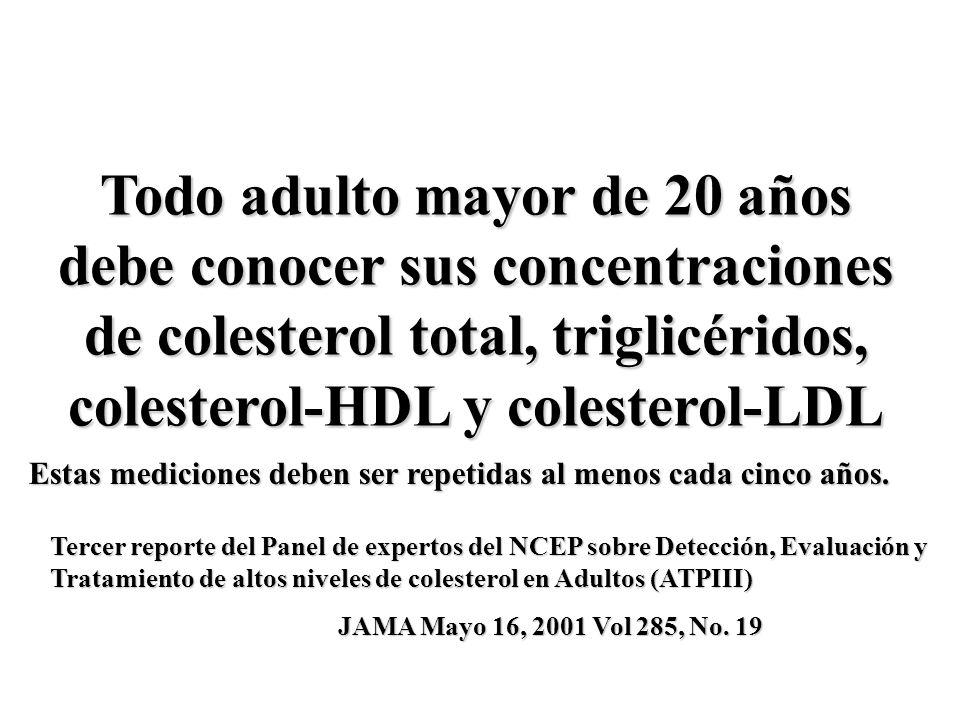 Todo adulto mayor de 20 años debe conocer sus concentraciones de colesterol total, triglicéridos, colesterol-HDL y colesterol-LDL Estas mediciones deb