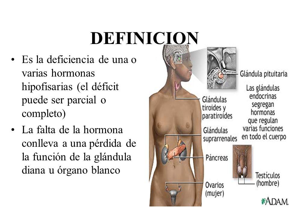 DEFINICION Es la deficiencia de una o varias hormonas hipofisarias (el déficit puede ser parcial o completo) La falta de la hormona conlleva a una pér