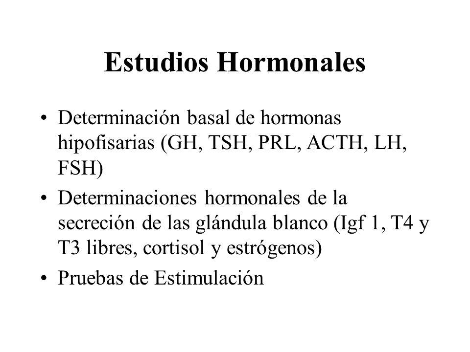 Estudios Hormonales Determinación basal de hormonas hipofisarias (GH, TSH, PRL, ACTH, LH, FSH) Determinaciones hormonales de la secreción de las glánd