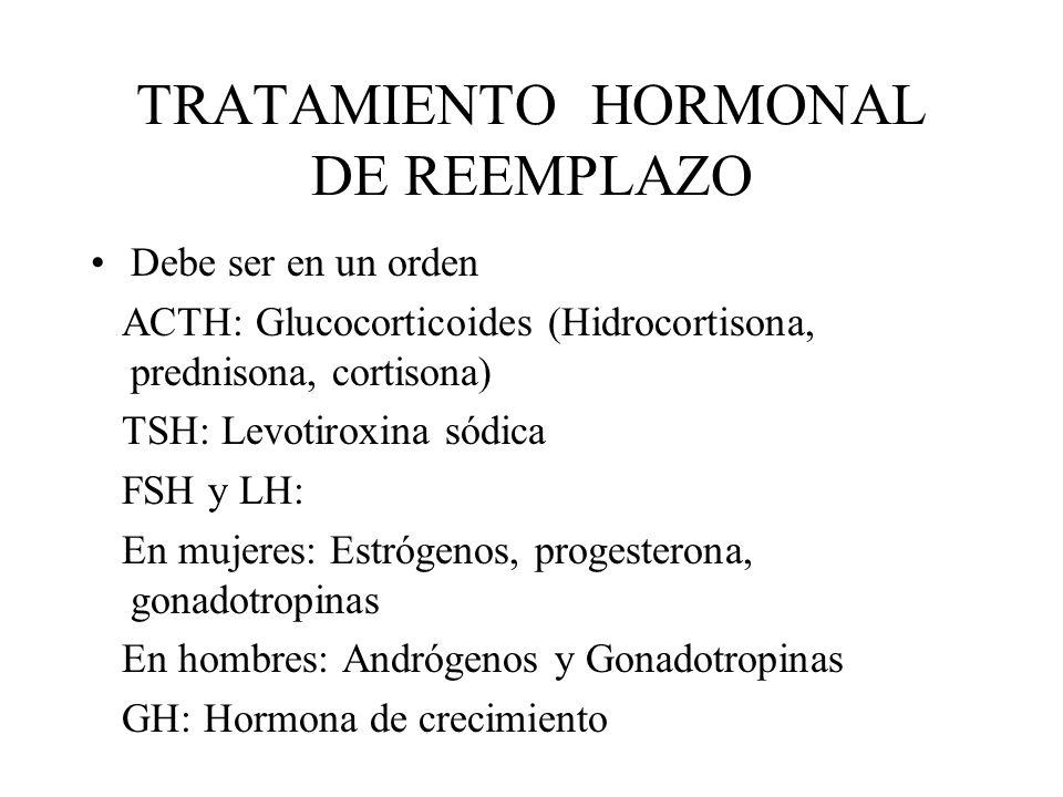 TRATAMIENTO HORMONAL DE REEMPLAZO Debe ser en un orden ACTH: Glucocorticoides (Hidrocortisona, prednisona, cortisona) TSH: Levotiroxina sódica FSH y L