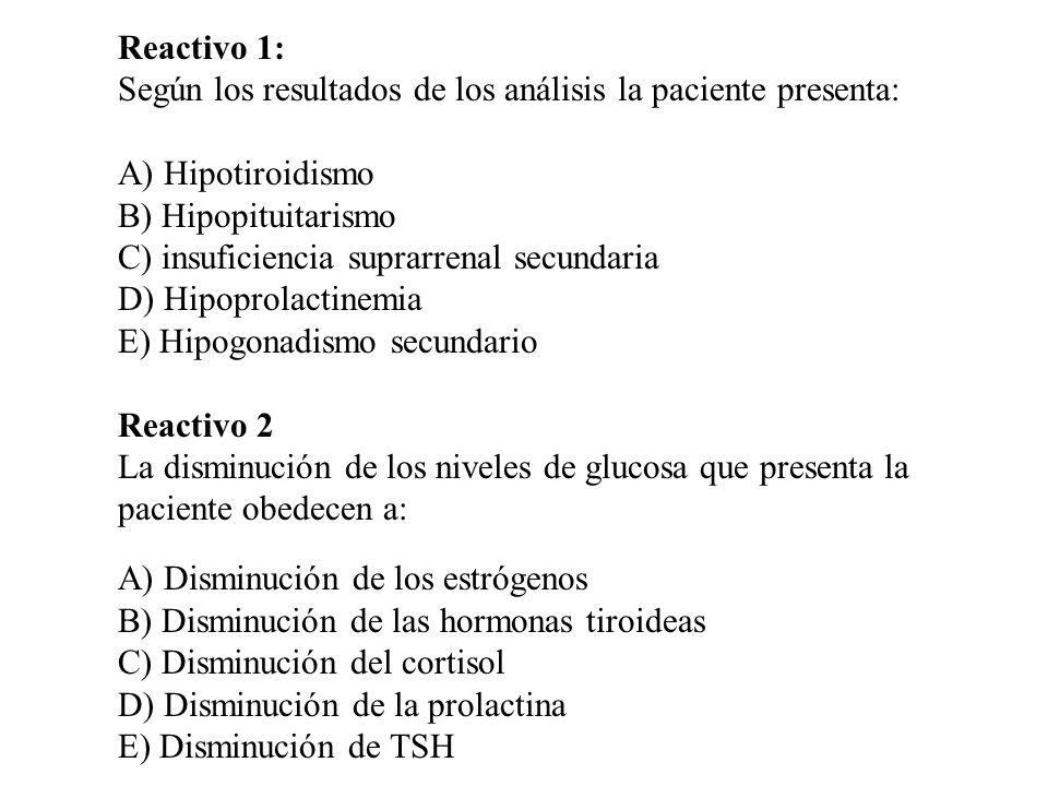 Reactivo 1: Según los resultados de los análisis la paciente presenta: A) Hipotiroidismo B) Hipopituitarismo C) insuficiencia suprarrenal secundaria D