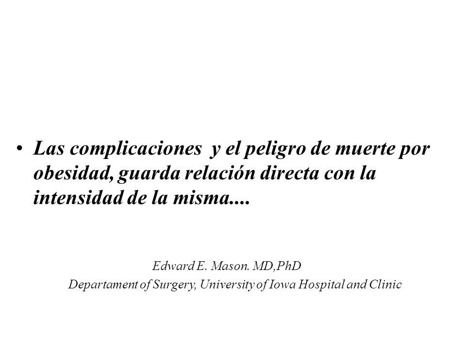 Las complicaciones y el peligro de muerte por obesidad, guarda relación directa con la intensidad de la misma.... Edward E. Mason. MD,PhD Departament