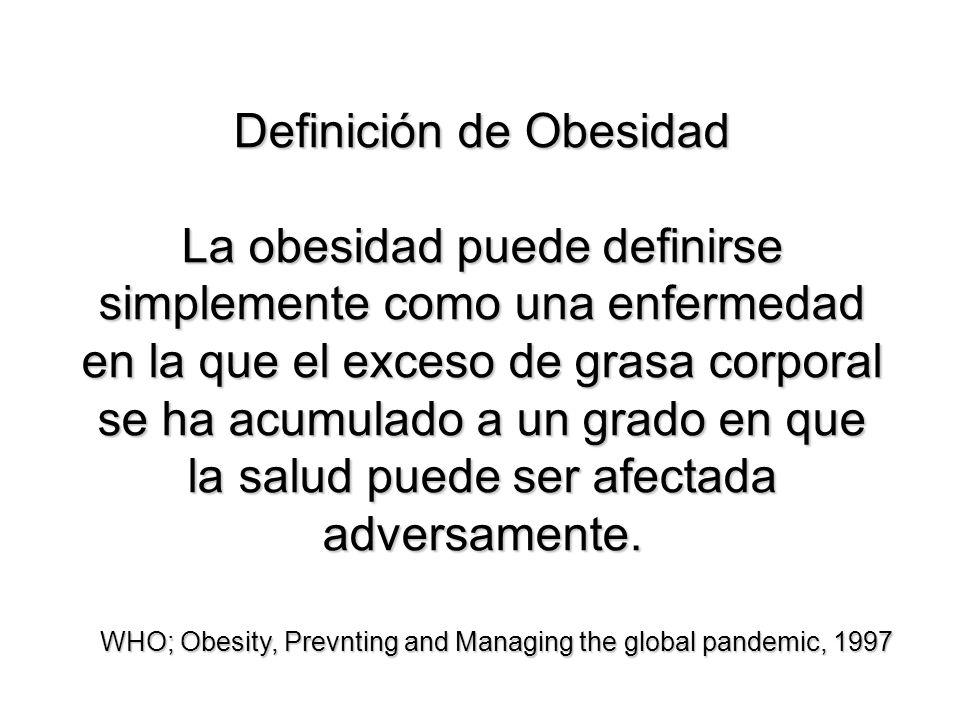 Definición de Obesidad La obesidad puede definirse simplemente como una enfermedad en la que el exceso de grasa corporal se ha acumulado a un grado en