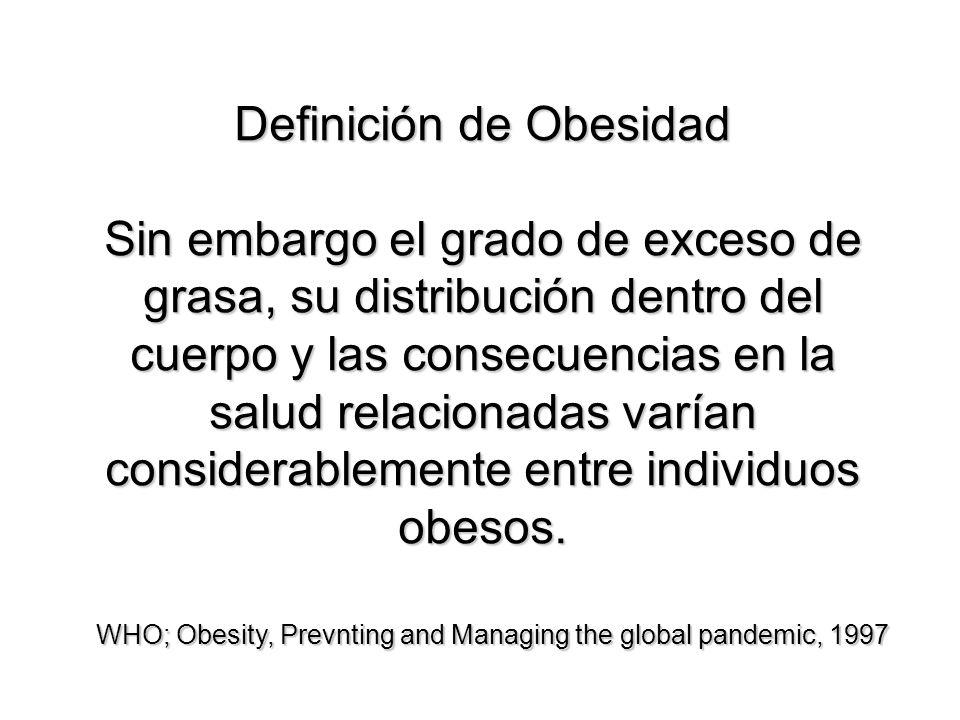 Definición de Obesidad Sin embargo el grado de exceso de grasa, su distribución dentro del cuerpo y las consecuencias en la salud relacionadas varían
