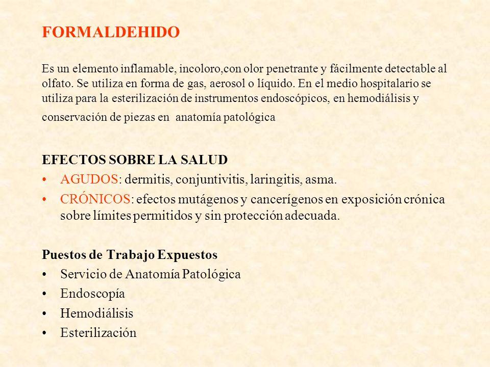 Puestos de Trabajo Expuestos: Operadores de esterilizadores con óxido de etileno Personal que trabaja en Servicio de Esterilización, sala de operacion