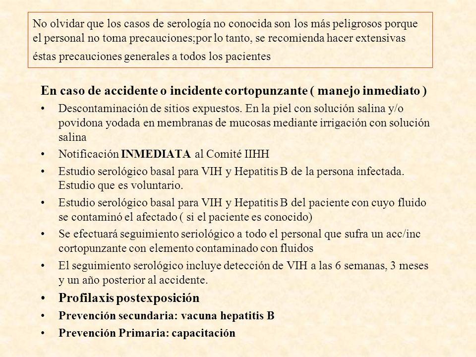 MEDIDAS DE PREVENCIÓN GENERALES Uso de material cortopunzante desechable Manejo cuidadoso de objetos cortopunzantes ( agujas, bisturíes) No recapsular