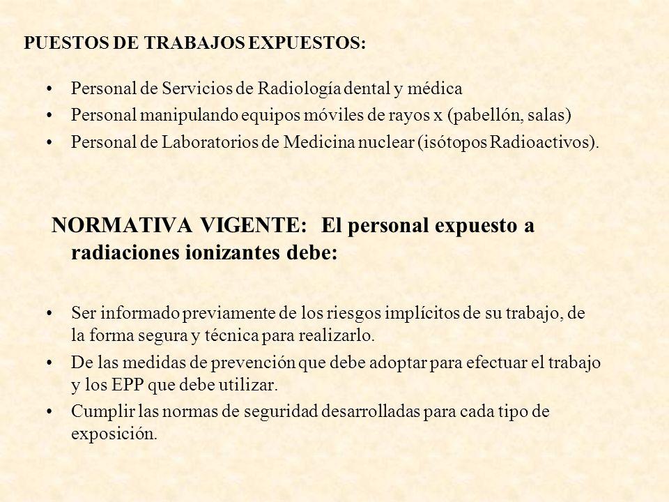 PUESTOS DE TRABAJOS EXPUESTOS: Personal de Servicios de Radiología dental y médica Personal manipulando equipos móviles de rayos x (pabellón, salas) Personal de Laboratorios de Medicina nuclear (isótopos Radioactivos).