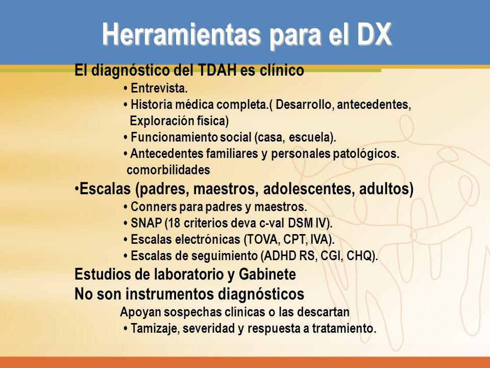 Herramientas para el DX El diagnóstico del TDAH es clínico Entrevista. Historia médica completa.( Desarrollo, antecedentes, Exploración física) Funcio