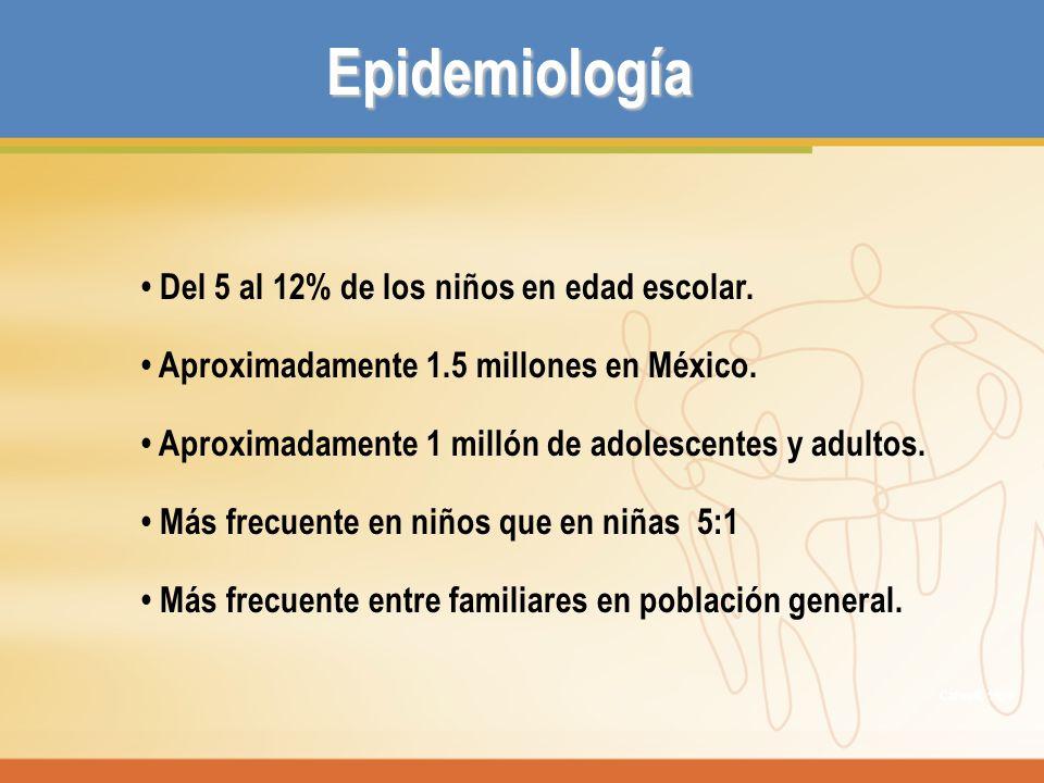 Epidemiología Del 5 al 12% de los niños en edad escolar. Aproximadamente 1.5 millones en México. Aproximadamente 1 millón de adolescentes y adultos. M