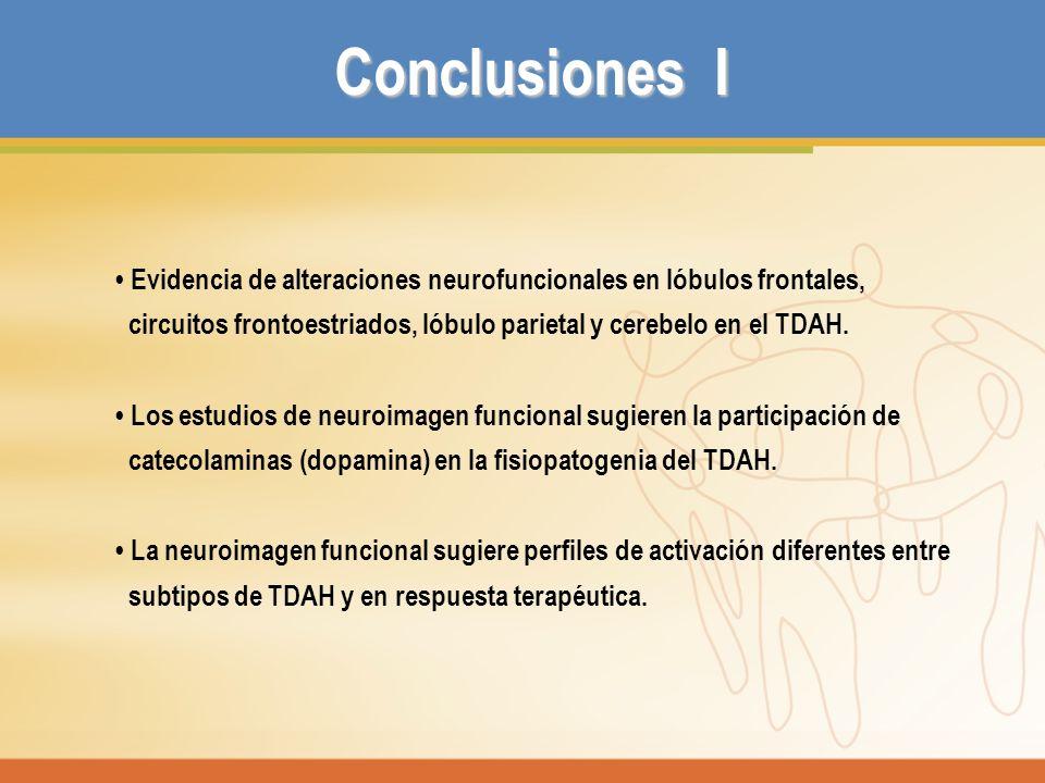 Conclusiones I Evidencia de alteraciones neurofuncionales en lóbulos frontales, circuitos frontoestriados, lóbulo parietal y cerebelo en el TDAH. Los