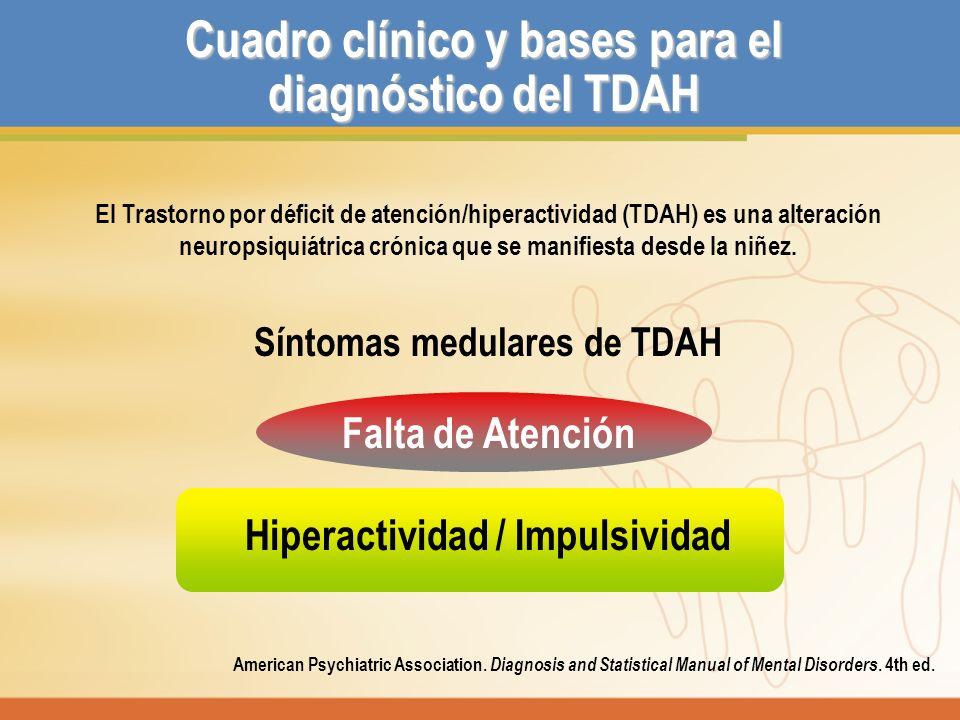 Criterios diagnósticos DSM IV-R INATENCIÓN, HIPERACTIVIDAD, IMPULSIVIDAD 6 o más de cada uno con duración mayor de 6 meses.